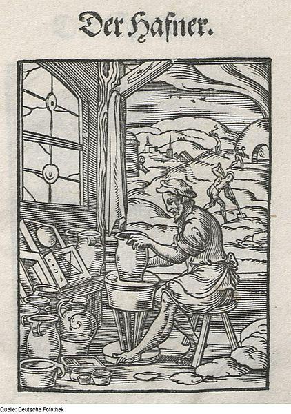 Warsztat garncarski na sztychu z 1568 roku, autor: Hans Sachs.