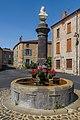 Fountain at Place Saint-Laurent in Orsonnette 02.jpg