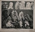 Four judges in heavy wigs, two of them are fast asleep. Etch Wellcome V0049263.jpg