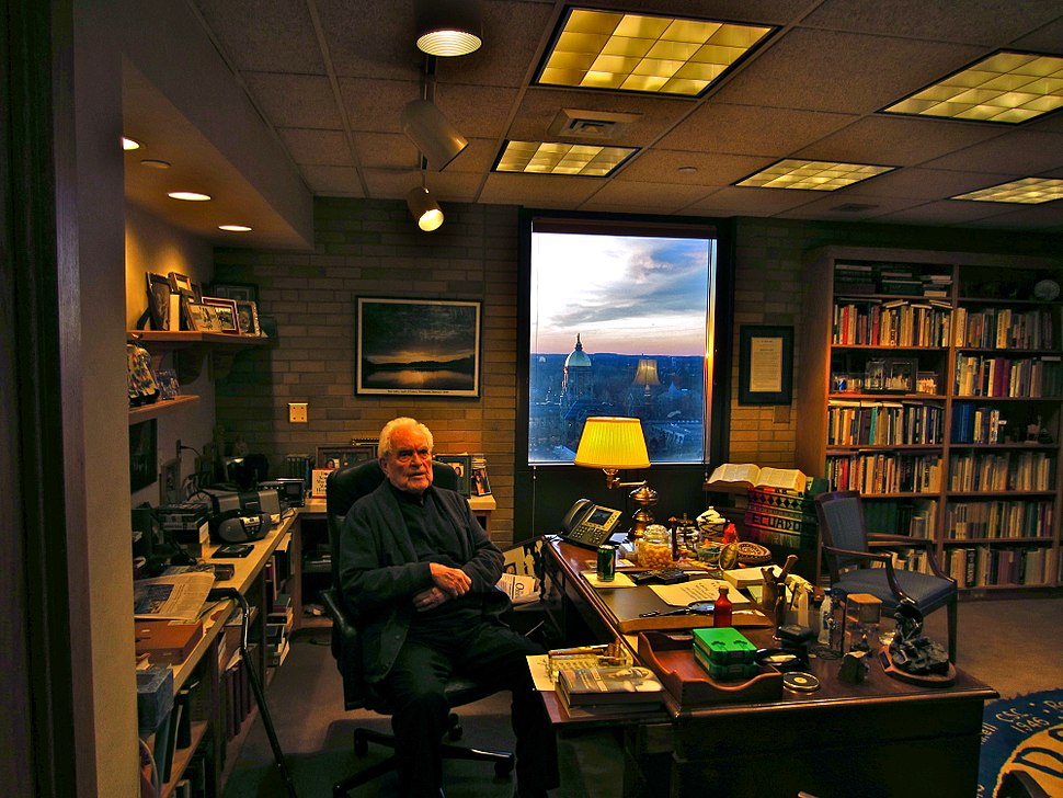 Fr. Ted Hesburgh in his Office at the University of Notre Dame
