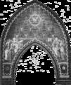 Frankfurter Dom - Steinle - Triumphbogen (Chorseite) - Die mystische Gottesburg des Lammes, Zug der Seligen zu dem von den Chören der Engel bewachten himmlischen Jerusalem.png