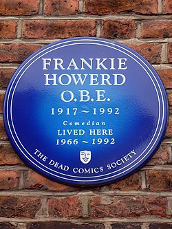 Frankie howerd obe 1917 1992 lived here 1966 1992