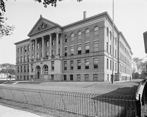 Utica Free Academy - Utica Free Academy building viewed from Kemble Street, photo from circa 1910
