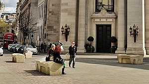 Great Queen Street - Camden benches outside Freemasons' Hall in Great Queen Street