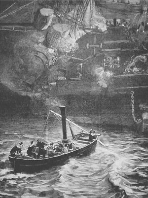 Battle of Shipu - French torpedo launch attacking the Chinese frigate Yuyuan, 14 February 1885