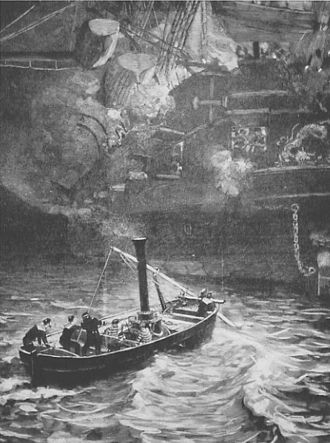 French torpedo launch attacking the Chinese frigate Yuyuan, 14 February 1885 FrenchTorpedoBoat.jpg
