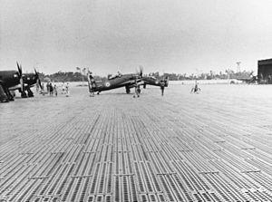 History of the Armée de l'Air in the colonies (1939–62) - Frenchs Grumman F8F Bearcat in Đà Nẵng, 1954.