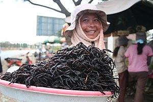 Arthropods in culture - Cooked tarantula spiders are a delicacy in Cambodia.