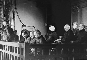 Friedrich Jeckeln - Jeckeln (left, standing), at his trial in Riga, 1946