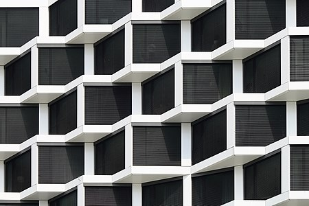 Friends Towers, Munich, a residential high-rise complex, June 2019 - detail of facade
