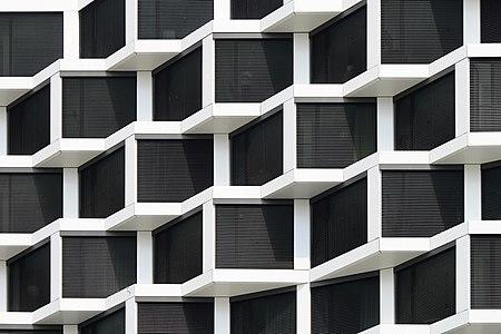 Friends Towers, Munich, a residential high-rise complex, June 2019 - detail of facade