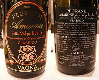 Denominazione di origine controllata - Labels of the Italian wine Amarone Della Valpolicella Classico 2004 from the Pegrandi vineyard produced by Vaona. The label indicates that this is a DOC class wine from the Classico region of Valpolicella.