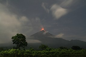 Fuego volcano in Guatemala erupting at night in 2017.jpg
