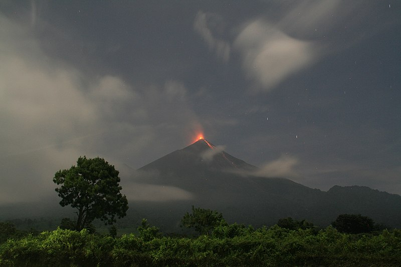 File:Fuego volcano in Guatemala erupting at night in 2017.jpg