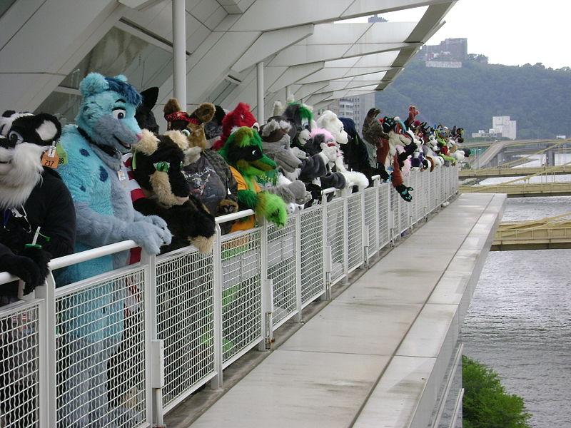 Fursuit parade (group view at Anthrocon 2008).jpg