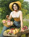 Gaetano Bellei - A Beauty Holding A Basket Of Roses.jpg