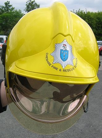Cheshire Fire and Rescue Service - Cheshire Fire and Rescue Service badged Gallet helmet