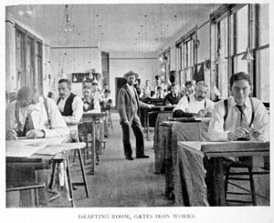 Machine shop - Gates Iron Works, Drafting Room, 1896