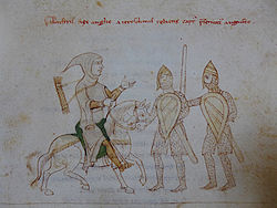 Illuminated manuscript illustration of a man in armour on horseback being captured by two armoured men on foot.