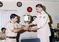General Muhammad Iqbal Khan awarding a trophy to Lt. Col. Hamid Mahmood.jpg
