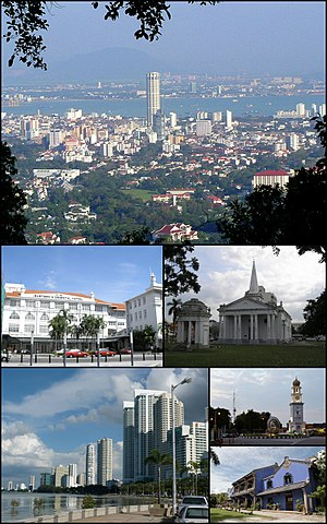 Clockwise from top: Skyline of George Town, Queen Victoria Memorial Clock Tower, Cheong Fatt Tze Mansion, Eastern & Oriental Hotel, St. George's Church, skyscrapers at Gurney Drive