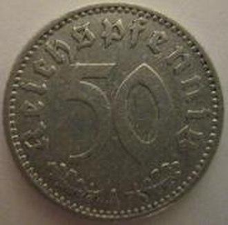 50 Reichspfennig (World War II German coin) - Image: Germany 50 reichspfennig 1940 reverse