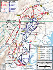 A map showing Union and Confederate movements at the corps level during the opening phases of the Gettysburg Campaign, with Stuart's cavalry ride shown with a red dotted line.