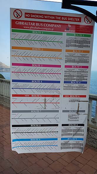 Transport in Gibraltar - Timetable on a bus shelter
