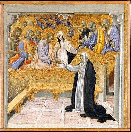 The Mystic Marriage of Saint Catherine of Siena by Giovanni di Paolo, ca. 1460 (Metropolitan Museum of Art, New York). Giovanni di Paolo The Mystic Marriage of Saint Catherine of Siena.jpg