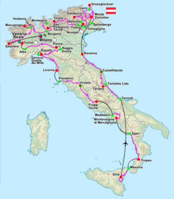 A physical map of Italy, with the host cities for the Giro marked with red and green dots and the route among them drawn with purple lines.