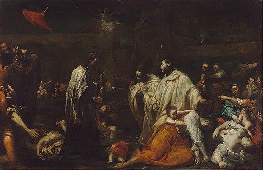 Giuseppe Maria Crespi (Italian (Bolognese) - Bernard Tolomei and the Plague in Siena - Google Art Project