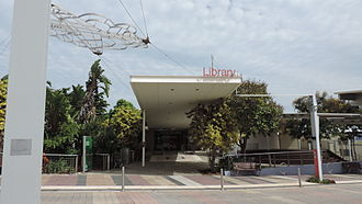 Gladstone Central - Entrance to Gladstone City Library, 2014