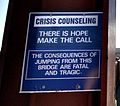 Golden Gate Bridge Crisis Counseling Sign 2078427073 (cropped).jpg