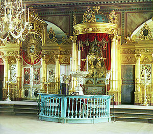 Iconostasis - Chapel of the holy icon of Theotokos of Smolensk in the Assumption Cathedral in Smolensk.