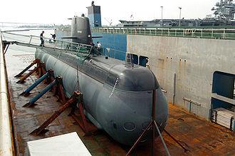 Gotland-class submarine - HMS Gotland onboard M/V Eide Transporter in San Diego