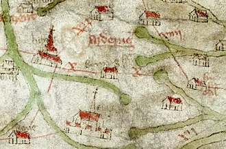 Stafford - Stafford on the 14th century Gough Map, at bottom centre. Stone is bottom left, Lichfield centre left. North is to the left