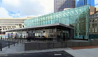 Government Center station (MBTA) - Government Center station headhouse in March 2016