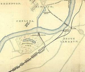 Grosvenor Canal - Part of an 1858 map showing the Grosvenor Canal and Basin