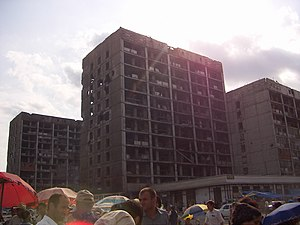 Grozny - Damaged apartment buildings in 2006