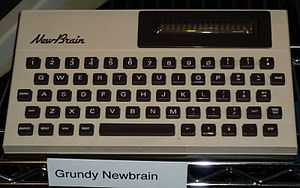Grundy NewBrain - An English AD model, clearly showing the 16-character display, on show at The National Museum of Computing