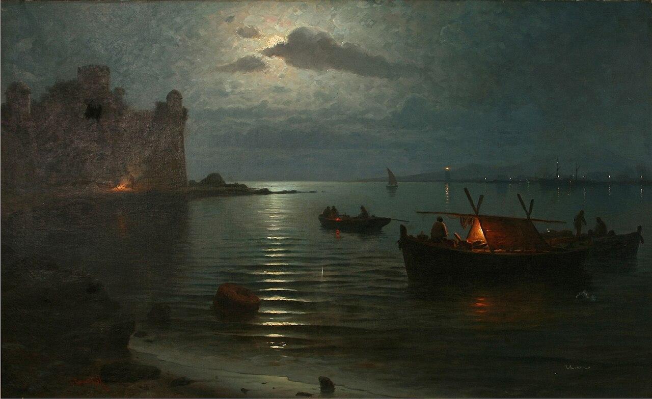 Guillermo Gómez Gil - Efecto de luna en Bayona (ca.1897).jpg