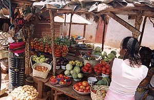 Cuisine of Guinea - A market stall selling vegetables in Dinguiraye Prefecture, Guinea.