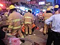HK Cheung Sha Wan Night Cheung Wah Street Un Chau Street traffic accident Firefighters at work Nov-2013 10.JPG