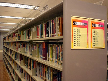 Library shelves in Hong Kong, showing numbers of the classification scheme to help readers locate works in that section HK Wan Chai Library Inside Bookcase a.jpg