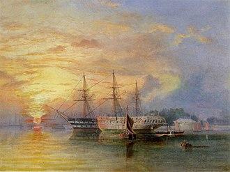 Edward Snell (engineer) - HMS St George and Arethusa on the Hamoaze near Bull Point