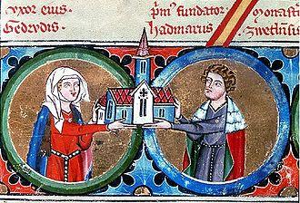 Hadmar I of Kuenring - Hadmar I and Gertrud. Detail from the Kuenring pedigree (Bärenhaut), Zwettl Abbey, 14th century