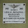 Halas-Bácsalmás-Regőcei HÉV emléktábla (2003), 2019 Kiskunhalas.jpg