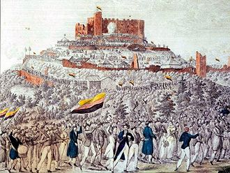 Hambach Festival - Procession to Hambach Castle, lithograph about 1832. The flag used by the procession would later become the Flag of Germany although with the colours in a different order