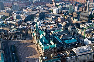 Altstadt, Hamburg - Aerial view of Rathaus (center), Rathausmarkt (left) and Chamber of Commerce (right)