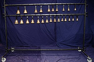 Handbell - Hand bells hung chromatically from stand